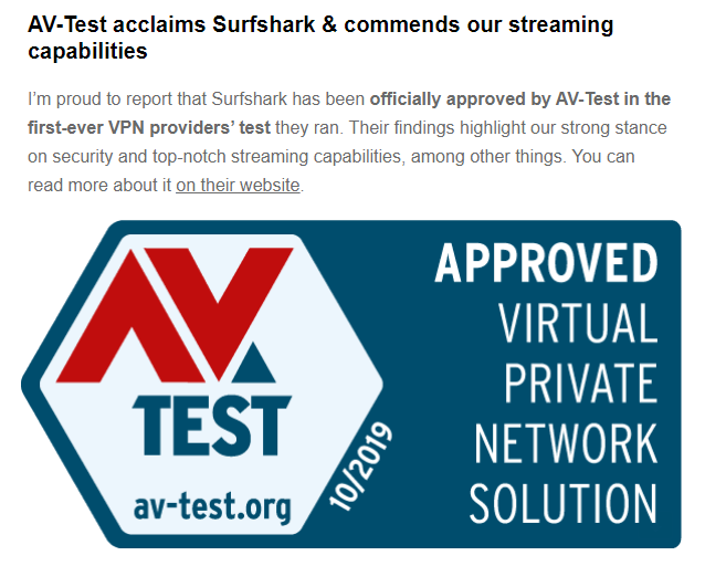 AV-Test acclaims Surfshark & commends our streaming capabilities