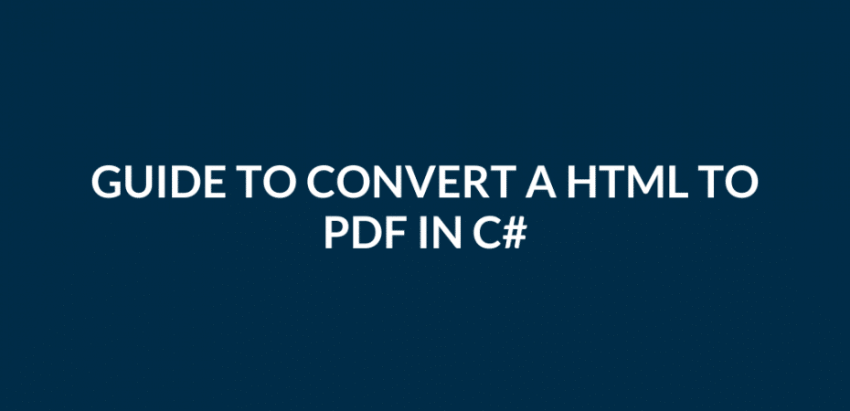Convert a HTML to PDF in C#