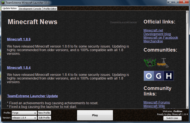 Launch the Minecraft mod manager
