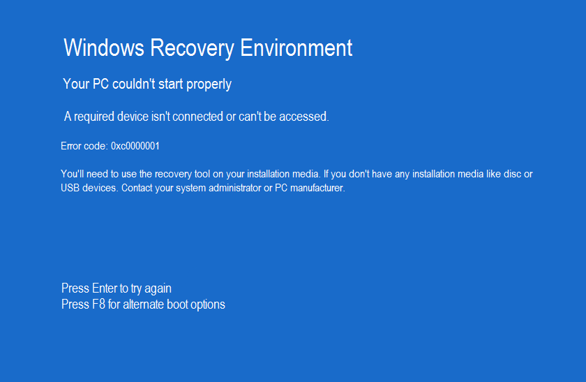 Windows boot loader isn't functioning correctly