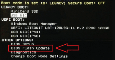bios Manual update via USB flash drive