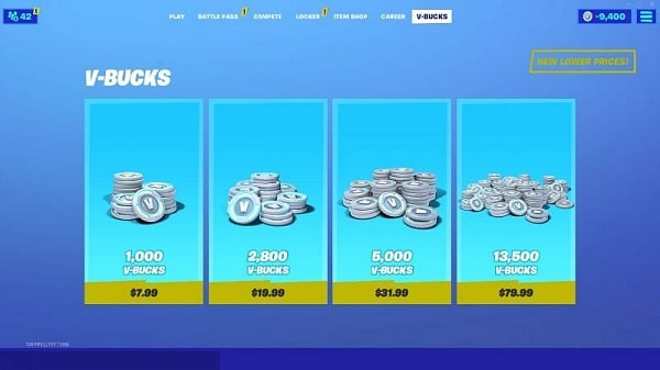 Fortnite V-Bucks cost