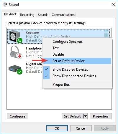 Set as Default Device