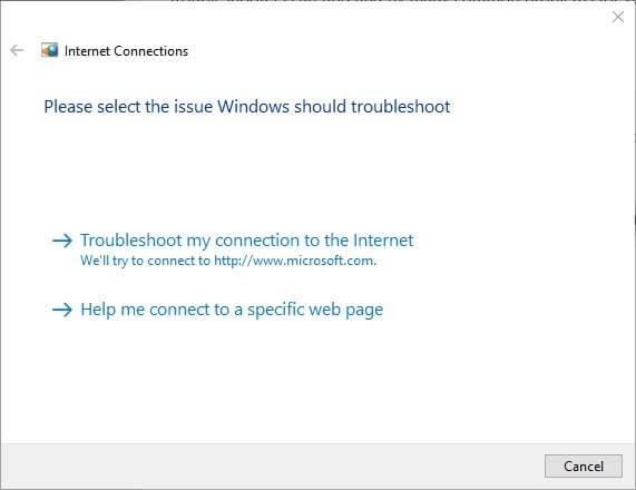 Troubleshoot my connection to the internet